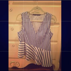 Worn only once!! Striped peplum blouse